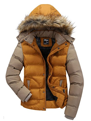Wantdo Men's Casual Fur Hooded Parka Jacket Medium Yellow