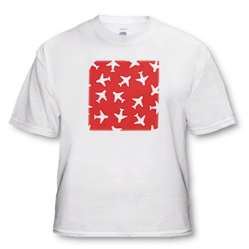 Cute Plane Print Dark Red and White - Adult T-Shirt 6XL