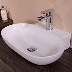 Countertop Sink Bowl : Countertop Sink Bathroom Basin Bowl White Ceramic: Amazon.co.uk: DIY ...