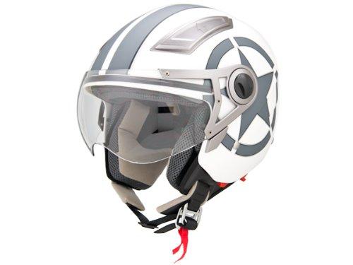 Dot Approved Motorcycle Helmet 34 Open Face Matte White Star Retro Vintage EVOS Sport Street Bike Cruiser Scooter Snowmobile Atv Helmet Medium