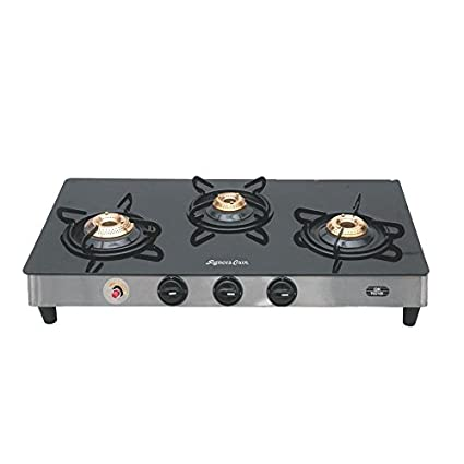 Glass Gas Cooktop with auto ignition (3 Burners)