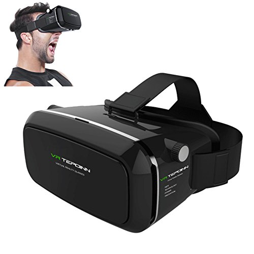 Tepoinn VR gafas 3D Auriculares VR 3D Realidad virtual Caja con Ajustable Lente y Correa for iPhone 5 5s 6 plus Samsung S3 Edge Note 4, 3.5-5.5 inch Universal 3D VR Realidad Virtual Gafas de video 3D Pelšculas