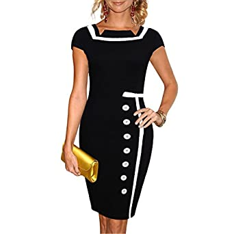 Miusol Women Smart Short Sleeve Single-Breasted Bodycon Party Cocktail Pencil Black Dress -S