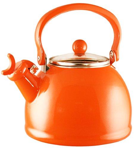 Calypso Basics Whistling Tea Kettle With Glass Lid, 2.2-Quart, Orange