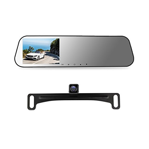 AUTO-VOX M2 1080P HD Dual lens Rearview Mirror Dash Cam with Car Recorder and Reverse Parking System, Car Rear View Backup Camera and 32GB Micro-SD Included (Micro View Camera compare prices)
