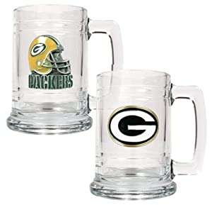 Green Bay Packers NFL 2pc 15oz Glass Tankard Set from Great American Products