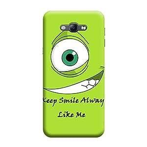 Desicase Samsung A8 Keep Smile Always Like Me 3D Matte Finishing Printed Designer Hard Back Case Cover (Green)