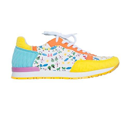 Scarpe Sneakers L4K3 LAKE Unisex Mr BIG Limited Neoprene GIALLO / AZZURRO / ARANCIO Stampa Bimbi Suola Gialla (44 EU)