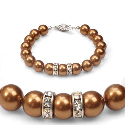 Genuine Swarovski Crystal Pearl Bracelet with Rondelle - Copper - 8mm