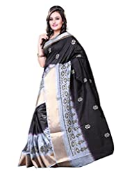Asavari Raw Silk Banarasi Saree(A15Raw-Gj-Blk_Silk Black)