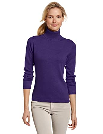 Sofie Women's 100% Cashmere Classic Turtle Neck Pullover Sweater, Amethyst,Large