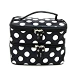 DEDC Double Layer Cosmetic Bag Black with White Dot Travel Toiletry Cosmetic Makeup Bag Organizer With Mirror
