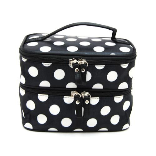 DEDC Double Layer Cosmetic Bag Black  White Dot