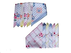 Milano Floral Print 100% cotton Ladies hankies (6 pcs)