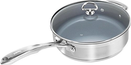 Chantal SLIN34-240C Induction 21 Steel Ceramic Coated Saute Skillet with Glass Tempered Lid, 3 quart, Silver (Chantal Induction 21 compare prices)