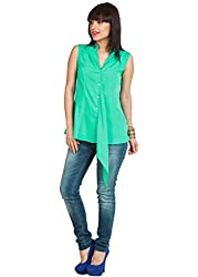 Zovi polyester Mint Green Sleeveless Drop Front Top (S146WOF09701_Small)