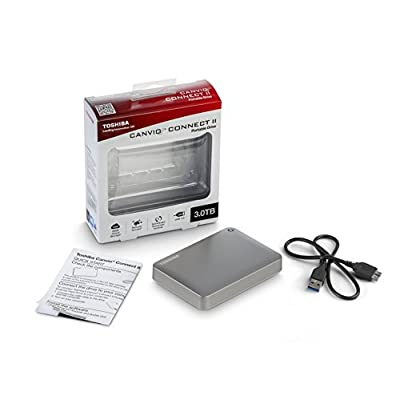 Toshiba Canvio Connect II 3TB Portable Hard Drive, Silver (HDTC830XC3C1)