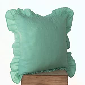 Throw Pillows With Ruffle Edge : Amazon.com: Seville Decorative Throw Pillow Covers - Teal Toss Pillow Covers - Linen Blend ...