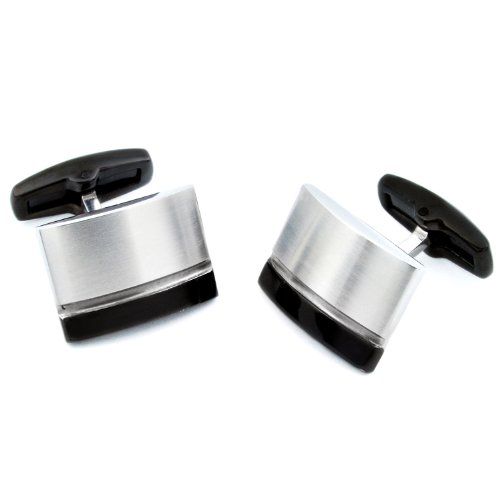 Black Plated Brushed and Polished Stainless Steel Cufflinks