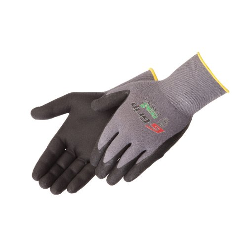 Liberty G-Grip Nitrile Micro-Foam Palm Coated Seamless Knit Glove With 13-Gauge Gray Nylon Shell, Medium, Black (Pack Of 12) front-138069