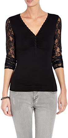Morgan - T-shirt - Uni - Col V - Manches longues - Femme - Noir - FR : 34 (Taille fabricant : XS)