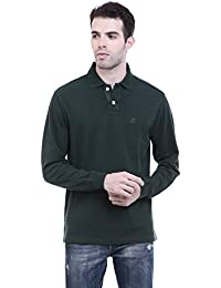 CHKOKKO Two Button Full Sleeves Tshirtz Black, White, Dark Green, Dark Grey, Dark Blue Solid Plain Collar Cotton...