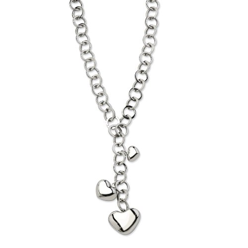 Stainless Steel Polished Hearts Y Necklace - 28 Inch - JewelryWeb