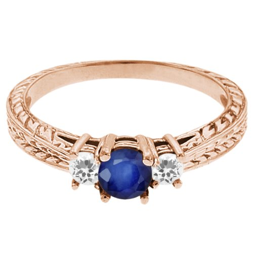 0.62 Ct Round Blue Sapphire White Sapphire 14K Rose Gold 3-Stone Ring