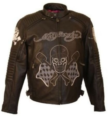 Ed Hardy Men's Piston & Skull Front & Two Tone Eagle Leather Jacket. EHMCM4-CSLZ
