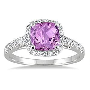 1.75 Carat Cushion Cut Amethyst and Diamond Ring in 10K White Gold