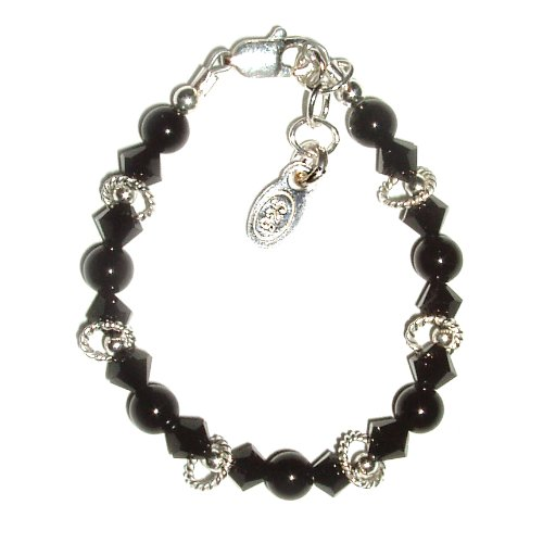 Sienna Sterling Silver Childrens Girls Bracelet Jewelry beautiful onyx stones and jet black Czech crystals accented with beautiful shimmering silver. Size Small Baby Infant 0-12 months