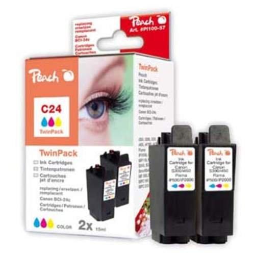 Peach C24 c Doppelpack Tintenpatronen kompatibel zu Canon BCI-24 c, farbig