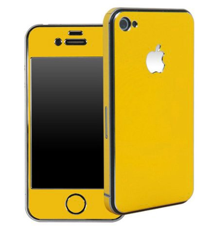Apple Iphone 4/4S Aluminium Protective Sticker Skin Full Body (Included Matte Anti Finger Anti Glare Screen Protector Guard Film - 2 Pack) For Luxury Looks Diamond Cutting (Yellow)
