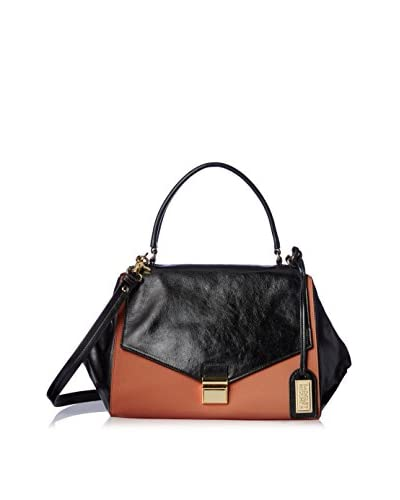 Badgley Mischka Women's Valentina Saffiano Satchel, Black/Cognac