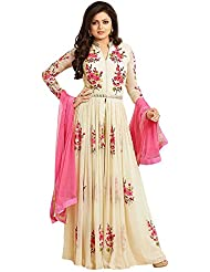 Women' S Pink And White Anrkali Half Stitched Ethnic Beautiful Dress Material (Georgette)