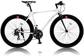 CANOVER(カノーバー) 700×25C クロモリフレーム クロスバイク シマノ21段変速ラピッドファイヤー 前後ディープリム 重量:11.2Kg LEDライト標準装備 CAC-024 HEBE(ヘーベー) ホワイト