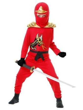 Charades 217009 Red Ninja Avengers Series II Toddler-Child Costume Red Large - 10-12