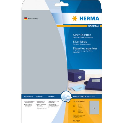Herma Etiketten A4 4117 210x297 mm Folie glänzend 25 Stück silber
