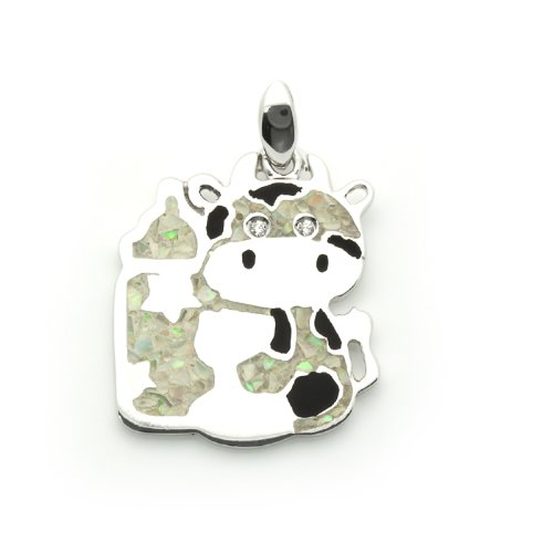 Sterling Silver Pendant Fancy Art Cow Decorated With Ground Opal For Children, 0.7