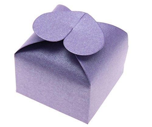 50pcs Conception de Coeur Cadeau Boîte à Bonbon Chocolat Soirée Mariage Cérémonie Perle Violet Nacré