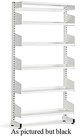 School Library Single Sided Shelving 5 Shelves 1800Hx900Wx250D Black