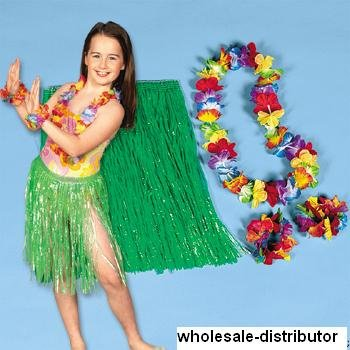 10 kids Luau Hula sets - includes 10 hula skirts, 10 flower leis, 10 pair flower bracelets