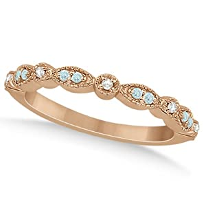Marquise and Dot Pave-Set Aquamarine and Diamond Milgrain Wedding Band in 14k Rose Gold 0.25ct