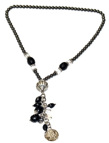 Black & White and Grey Crystal Bead Necklace