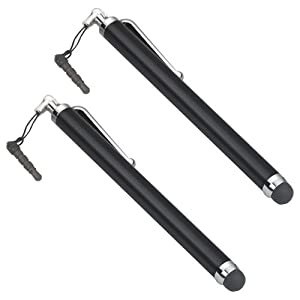 TRIXES 2 x Black Stylus Pens for Apple iPad, iPad AIR, iPad Mini, iPhone, iPod Touch, Samsung Galaxy, Tablets and all other Touch Screens Devices