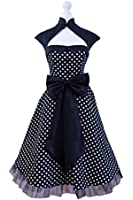 Vintage 1950s 60s Swing Rockabilly Black White Red Polka Dot Evening Party Retro Dress UK Size 8-24