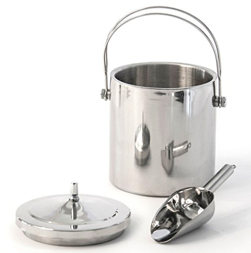 Premium Ice Bucket | Insulated Stainless Steel Double Walled | Top Handle for Carrying One Handed | Quality 8 Inch Solid Stainless Steel Scoop | Great Gift | Keeps 1/2 Gallon of Ice From Melting (Commercial Ice Box compare prices)