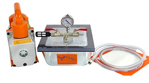 2.75QT Pyrex Flat Vacuum Chamber with 3 CFM Single Stage Pump Kit (Vacuum Purge Kit compare prices)