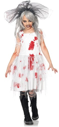 Lets Party By Leg Avenue Zombie Bride Child Costume / White/Red - Size Medium (7-10)