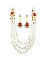 Sri Jagdamba Pearls Gold Plated, Metal, Pearl & Silver Pendant For Women -White, Gold & Silver
